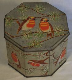 "RARE VINTAGE HUNTLEY""ROBIN"" BISCUIT TIN C1963 ART DECO CHRISTMAS XMAS"