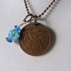 New Zealand Coin Necklace  One Penny  Coin  Year 1956  Tui Bird  Queen Elizabeth 2  World Coin Jewelry on Etsy, $18.00