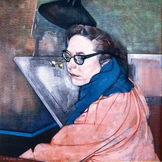 Portrait of Illustrator Carolyn Gast painted by her husband, Michael Gast in 1984. Photo by Michael Nicholson