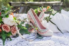 Pink, blue & white shoe inspiration from a Bohemian, Colourful and Rustic Outdoor Italian Wedding Shoot | Photography by http://www.charlottehuphotography.co.uk/