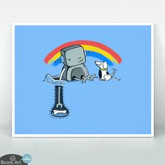 """Helping Hand"" Cute Kawaii Art Print 