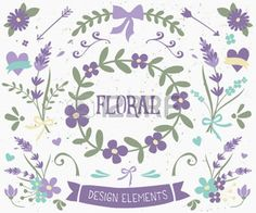 hand drawn flower: A set of vintage style floral design elements in violet and green. Hand drawn decorative elements and embellishments. Borders, laurels, swirls, wreaths and other floral graphics.