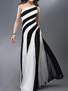 Shop Monochrome Stripe One Shoulder Cut Out Maxi Dress from choies.com .Free shipping Worldwide.$29.9
