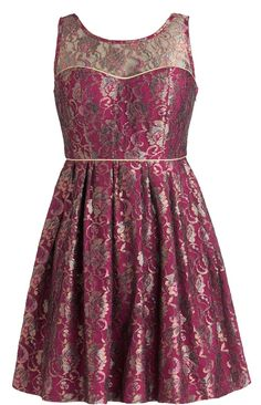 Metallic Merlot Dress: Features a shimmering floral lace overlay peppered with pretty blue and gold rose vines, illusion sweetheart neckline, wine red foundation trimmed with gold piping for pop, and a ladylike A-line skirt to finish.