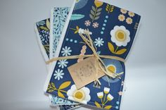 Navy and yellow modern floral baby girl burp by GoodnessGrayson