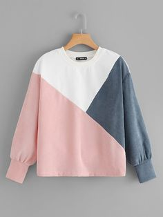 Shop Cut-and-Sew Pullover online. SHEIN offers Cut-and-Sew Pullover & more to fit your fashionable needs. Crop Top Outfits, Cute Casual Outfits, Pretty Outfits, Stylish Outfits, Sweatshirt Outfit, Girls Fashion Clothes, Teen Fashion Outfits, Cute Shirt Designs, Stylish Hoodies