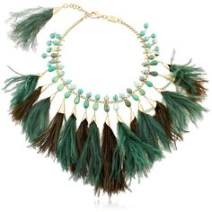 Rosantica Women Faggio Feathered Necklace ($810) ❤ liked on Polyvore featuring jewelry, necklaces, rosantica, tassel jewelry, feather jewelry, nickel free jewelry and tassle necklace