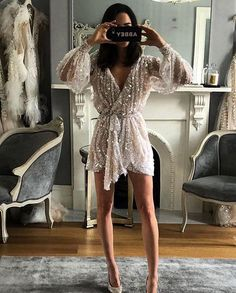 Festival Brides on A sparkly dance-all-night kinda reception dress. Pallas Couture, Rehearsal Dinner Inspiration, Rehearsal Dinner Outfits, Wedding Rehearsal Outfit, Rehearsal Dinner Looks, Dinner Party Outfits, Rehearsal Dinners, Bride Reception Dresses, Bride Party Dress