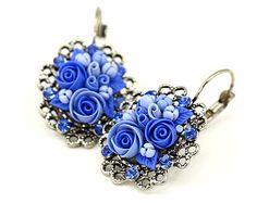 Hecho por encargo Pendientes florales azules brillantes con cristales Swarowski joyería femenina Pequeño Pendientes Regalo para Ella romántica joyería floral