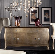 Golden crocodile lacquer buffet from LA Furniture Store...I love shiny things!