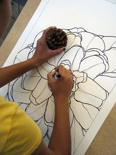 Line drawing of a pinecone - the ordinary is extraordinary!..students could find something on a nature walk and draw a close up