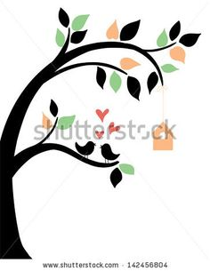 Doodle tree with birds in love and nesting box. Raster. - stock photo