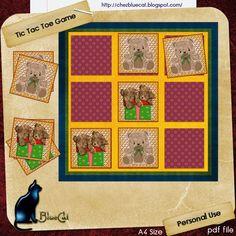 ♥ • ❁ • BlueCat et ses cartes • ❁ • ♥ http://carteschezbluecat.blogspot.fr/2013/07/tic-tac-toe-game2.html