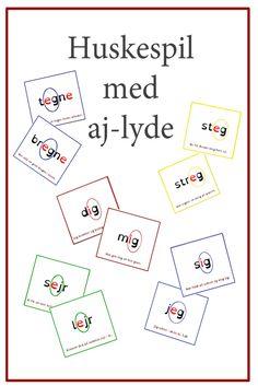 Næste trin efter lydret læsning er genkendelse af bogstavfølger og deres lyde. En af dem er aj-lyden som går igen i mange ord som eg, ig eller ej. Se min nye udgivelse til øvelsen i at spotte aj-lyden i disse bogstavfølger - ordkortene er også velegnede til stave/skriveøvelser på mellemtrinnet. Danish Language, Play To Learn, Sprog, Speech Therapy, Kids And Parenting, Diy For Kids, Classroom, Teacher, Education