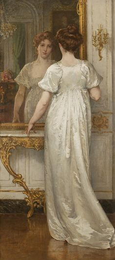 """A Woman of the Empire     c. 1902  Artist: Walter MacEwen (1860-1943, American)  Oil on canvas      6' 2"""" x 34"""""""