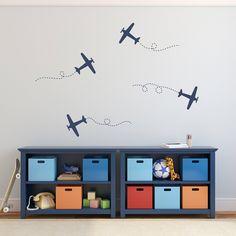 Airplane Wall Decal Set - Plane Wall Stickers - Set of 4 - Medium Set