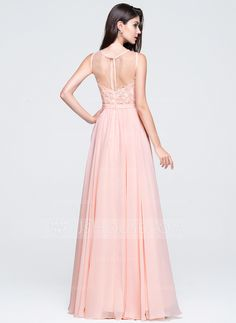 A-Line/Princess Scoop Neck Floor-Length Beading Appliques Lace Sequins Zipper Up Regular Straps Sleeveless No Pearl Pink Spring Summer Fall General Plus Chiffon Prom Dress