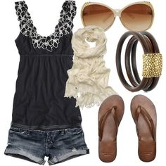 Adorable summer outfit. Jean shorts, cute tanktop, white scarf, sandals, and sunglasses.