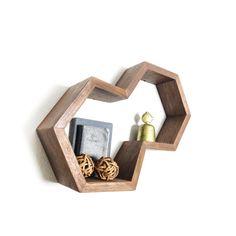Dual Hexagonal Shelf Geometric Floating by FernwehWoodworking