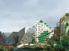 Manuelle Gautrand Designs Futuristic Housing Block for Amsterdam,Hyde Park Residence. Image Courtesy of Romain Ghomari Futuristic Architecture, Concept Architecture, Architecture Design, Hyde Park, Amsterdam Images, Green Terrace, Glazed Brick, Great Buildings And Structures, Future City