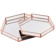 Diy Wedding Koyal Wholesale Glass Mirror Hexagonal Trays Vanity Set of Rose Gold Room Decor Bedroom Rose Gold, Rose Gold Rooms, Rose Gold Decor, Rose Gold Mirror, Metal Mirror, Room Ideas Bedroom, Rose Gold Bedroom Accessories, Bedroom Wall, Vanity Tray