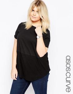 ASOS CURVE Contrast Ribbed Panel T-Shirt