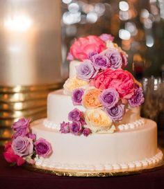 Cascading Florals on White Fondant Cake White Fondant Cake, Cake Table Decorations, Pink And Purple Flowers, Wedding Cake Inspiration, Wedding Ideas, Mod Wedding, Wedding Stuff, Beautiful Wedding Cakes, October Wedding