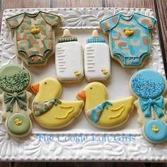 camo /duck baby shower cookies