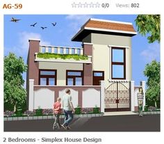 Modern simplex (1 floor) house design.Click on this link (http://www.apnaghar.co.in/pre-design-house-plan-ag-page-63.aspx) to view free floor plans (naksha) and other specifications for this design. You may be asked to signup and login. Website: www.apnaghar.co.in, Toll-Free No.- 1800-102-9440, Email: support@apnaghar.co.in