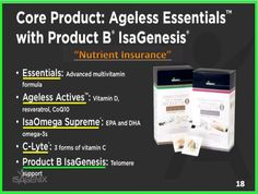 """Start your Day With  Famous """"AgeLess Essentials with Product B IsaGenesis"""" ??  For A """"HEALTHIER TOMORROW"""" - A foundational product for your best health and longevity. This 30-day supplement includes superior healthy aging and whole-body nutritional support. Featuring the newest 4th generation of Product B for greater cellular and telomere support, plus a full spectrum of vitamins, minerals, omega-3s and antioxidants for complete nourishment. cupie.isagenix.com"""