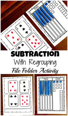 Grab a Free Subtraction With Base Ten Blocks File Folder Activity This file folder activity is a perfect way to teach subtraction with regrouping using base ten blocks and a deck of cards. Teaching Subtraction, Subtraction Strategies, Subtraction Activities, Teaching Math, Math Activities, Math Games, Subtraction Regrouping, Numeracy, Subtracting With Regrouping