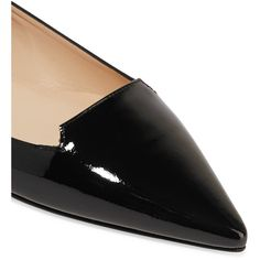 Jimmy Choo Attila patent-leather point-toe flats (6.455 ARS) ❤ liked on Polyvore featuring shoes, flats, black pointy toe flats, black patent leather shoes, black patent shoes, black slip-on shoes and patent leather flats