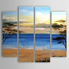 Hand-painted Oil Painting Landscape Beach Set of 4 1302-LS0222 - USD $ 139.99