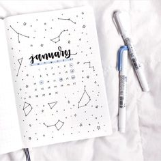 ✨constellation theme for january✨. ✨constellation theme for january✨ bullet journal inspiration, journal ideas Bullet Journal School, Bullet Journal Inspo, Doodle Bullet Journal, January Bullet Journal, Bullet Journal Cover Page, Bullet Journal Aesthetic, Bullet Journal Notebook, Bullet Journal Spread, Bullet Journal Yearly Layout