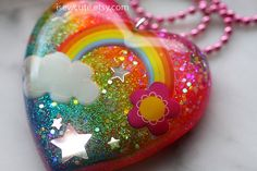 Rainbow 80's Inspired Necklace Glitter Neon Necklace by isewcute, $24.50