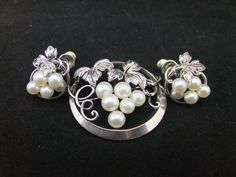 Mikimoto Tokyo, Sterling Silver & Pearls, Brooch and Earrings Set #Mikimoto