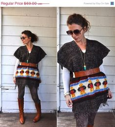 SALE 40 Vintage Peruvian Fringed Poncho Cape Warm by LaDeaDeiSogni, $41.40