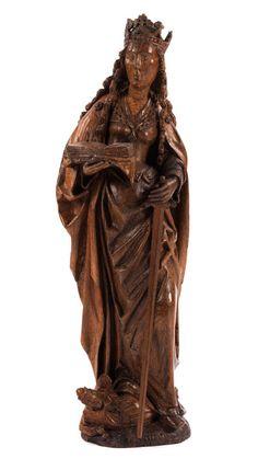 Höhe: 82 cm. Flandern, ausgehendes 15. Jahrhundert. Eichenholz. Die Figur rundplastisch geschnitzt, an der Rückseite mit senkrechten Falten gearbeitet....