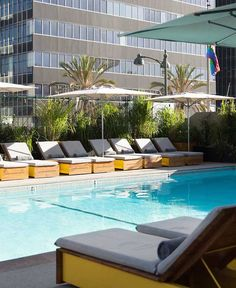 The outdoor pool deck is planted with citrus trees and scented flora. #Jetsetter The LINE Hotel (Los Angeles, California)