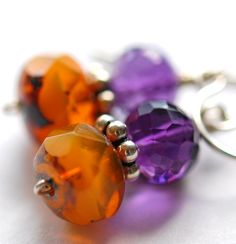 Pumpkin and Purple Earrings Amethyst Quartz by hamptonjewels/Etsy
