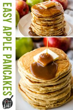 Apple Pancakes are a great way to sneak some healthy fruit into your breakfast routine. These easy pancakes are light, fluffy, and totally easy to make! #applepancakes #pancakes Tasty Pancakes, Pancakes And Waffles, Meat Chickens, Home Chef, Waffle Recipes, Healthy Fruits, Coffee Cake, Breakfast Recipes, Good Food