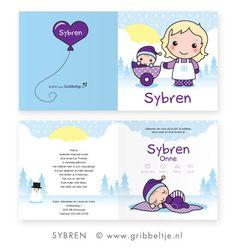 Geboortekaartje in winterthema - Birth announcement in winter theme * Made by Gribbeltje *