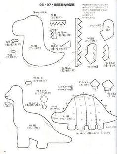 dinosaurios+fieltro+molde+2.jpg 365×481 pixels