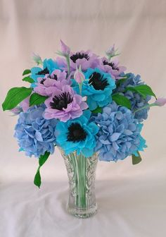 anemone and hydrangea paper flower arrangement
