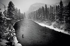 Fly fisherman on the Gallatin River in Big Sky, Montana
