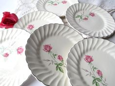 Vintage Pink Green Rose Dessert Plates Set of Six by thechinagirl