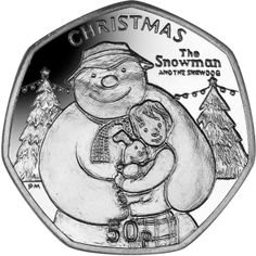 Isle of Man 2014 - The Snowman™ and The Snowdog - Proof Sterling Silver Coin Rare British Coins, Rare Coins, Gold And Silver Coins, Silver Bars, Snowman And The Snowdog, English Coins, Coin Buyers, Fifty Pence Coins, 50p Coin