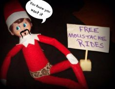 Ok this is the only cool Elf on The Shelf I've seen. - Buddy The Elf Moustache Ride, Mustache, Bad Elf, Elf Names, Elf On The Self, Naughty Elf, Christmas Preparation, List Of Activities, Christmas Elf