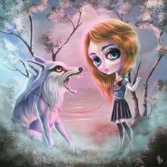 Wolf and a Girl by mai-coh.deviantart.com on @deviantART