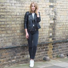 Weekend casual in the form of skinny jeans and a leather jacket #AsSeenOnMe